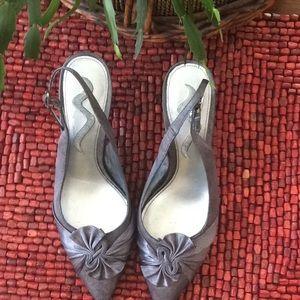 Pewter satin shoes